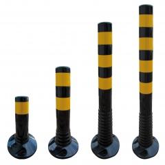Schake Flexipfosten Ø80mm in schwarz mit gelb reflektierenden Streifen und Dübelbefestigung aus PUR 300-1000mm hoch