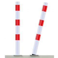 Schake Absperrpfosten ortsfest aus Stahlrohr Ø76x2,6mm allseitig bis 30º neigbar mit Dübelbefestigung 900mm Überflur