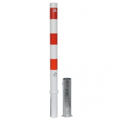 Schake Absperrpfosten herausnehmbar aus Stahlrohr Ø76x2,9mm mit Stahlkappe 900mm Überflur