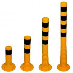 Schake Flexipfosten Ø80mm in gelb mit schwarzen Streifen und Dübelbefestigung aus PUR 300-1000mm hoch