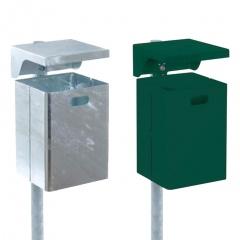 Schake Rechteck- Abfallbehälter 40l mit Dach und wahlweise mit Ascher