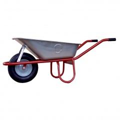 Schake Schubkarre Allcar, Stahlrohr mit Luftrad, 85l, verzinkte Mulde, montiert