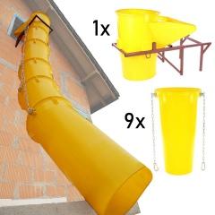 Schuttrutschen-Set gelb mit Trichter, Halterung und 9 Rohren bis 5,5mm Wandstärke 10m