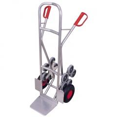 VARIOfit Aluminium Treppenkarre gebogene Querstreben 200kg Tragkraft mit 2 fünfarmigen Radsternen
