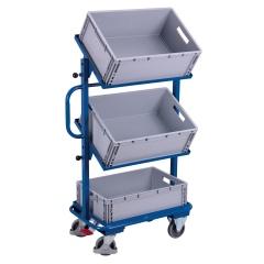 VARIOfit Beistellwagen inklusive Kunststoffkisten mit 3 offenen Böden, neigbar 610x410mm