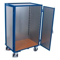 VARIOfit Etagenwagen aus Stahlblech mit Schiebebügel, Flügeltür, Treibriegel und 5 Ladeflächen