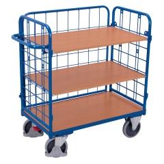 VARIOfit Dreiwandwagen, niedrig und vergittert mit 3 Etagen