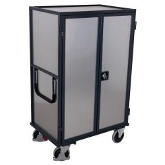 VARIOfit ESD Etagenwagen aus Stahlblech mit Flügeltür, Schiebebügel und 5 Ladeflächen