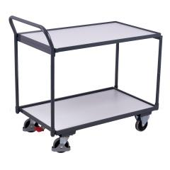 VARIOfit ESD Tischwagen mit gebogenem Schiebegriff und 2 Ladeflächen