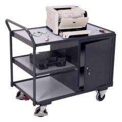 VARIOfit ESD Werkstattwagen mit gebogenen Schiebegriff und 2 Ladeflächen 985x590mm