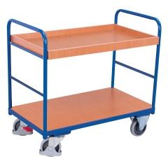 VARIOfit Etagenwagen, niedrig mit 2 Ladeflächen und Rand