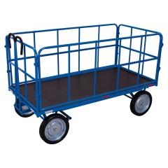 VARIOfit Handpritschenwagen mit 4 Rohrgitterwänden und Vollgummibereifung, bis 1250kg Traglast 1140x800mm