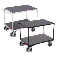 VARIOfit Schwerer Tischwagen mit Schiebegriff und 2 Ladeflächen