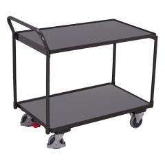 VARIOfit Tischwagen mit gebogenem Schiebegriff und 2 Ladeflächen 835x495mm Anthrazitgrau