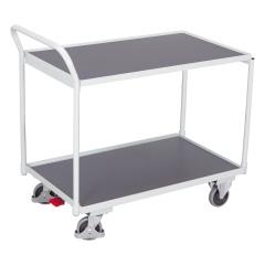 VARIOfit Tischwagen mit gebogenem Schiebegriff und 2 Ladeflächen 985x595mm Lichtgrau