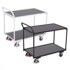VARIOfit Tischwagen mit gebogenem Schiebegriff und 2 Ladeflächen