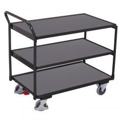 VARIOfit Tischwagen mit gebogenem Schiebegriff und 3 Ladeflächen 985x595mm Anthrazitgrau