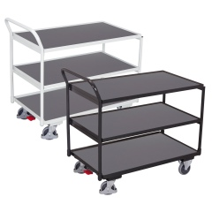 VARIOfit Tischwagen mit gebogenem Schiebegriff und 3 Ladeflächen