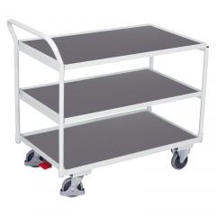 VARIOfit Tischwagen mit gebogenem Schiebegriff und 3 Ladeflächen 985x595mm Lichtgrau