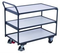VARIOfit ESD Tischwagen mit gebogenem Schiebegriff und 3 Ladeflächen