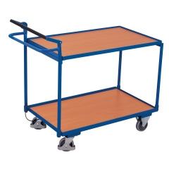 VARIOfit Tischwagen mit gebogenem Schiebegriff, Totmannsbremse und 2 Ladeflächen