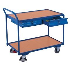 VARIOfit Tischwagen mit gebogenem Schiebegriff, 2 Schubladen und 2 Ladeflächen 985x595mm