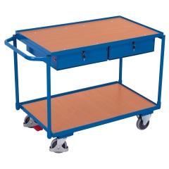 VARIOfit Tischwagen mit Schiebegriff, 2 Schubladen und 2 Ladeflächen 985x595mm