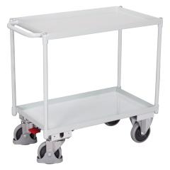 VARIOfit Tischwagen mit Schiebegriff und 2 Ladeflächen 835x495mm Lichtgrau