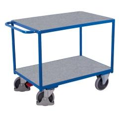 VARIOfit Schwerer Tischwagen mit Schiebegriff und 2 Zinkblechladeflächen