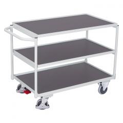 VARIOfit Tischwagen mit Schiebegriff und 3 Ladeflächen 835x495mm Lichtgrau