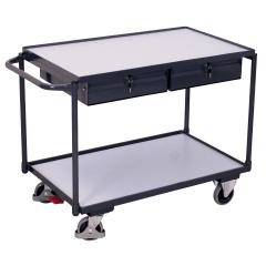 VARIOfit ESD Tischwagen mit Schiebegriff, 2 Schubladen und 2 Ladeflächen 985x595mm