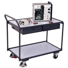 VARIOfit ESD Tischwagen mit gebogenen Schiebegriff, 2 Schubladen und 2 Ladeflächen 985x595mm