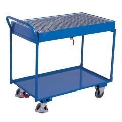 VARIOfit Tischwagen mit Gitterrost und 2 Ladeflächen 995x595mm mit hohem Schiebebügel