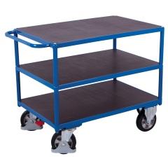 VARIOfit Schwerlast Tischwagen mit Schiebegriff und 3 Ladeflächen