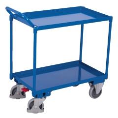 VARIOfit Tischwagen mit Wanne, gebogenem Schiebegriff und 2 Ladeflächen