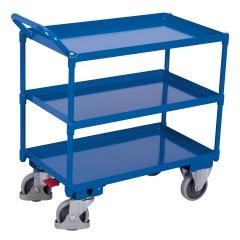 VARIOfit Tischwagen mit Wanne, gebogenem Schiebegriff und 3 Ladeflächen