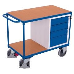 VARIOfit Werkstattwagen mit Schiebegriff, 4 Schubladen und 2 Ladeflächen 500kg Traglast