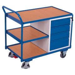 VARIOfit Werkstattwagen mit gebogenen Schiebegriff, 3 Ladeflächen und 4 Schubladen