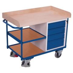 VARIOfit Werkstattwagen mit Schiebegriff, 4 Schubladen und 3 Ladeflächen bis 1125x630mm
