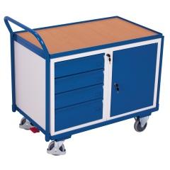 VARIOfit Werkstattwagen mit gebogenen Schiebegriff, Schrank und 4 Schubladen