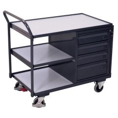 VARIOfit ESD Werkstattwagen mit gebogenen Schiebegriff, 3 Ladeflächen und 4 Schubladen