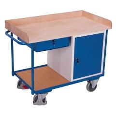 VARIOfit Werkstattwagen mit Schiebegriff, Schrank, Schublade und 2 Ladeflächen bis 1125x630mm