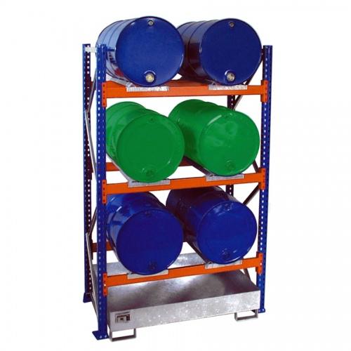 Bauer Anbauregal 3003 für Fässer mit 3 Ebenen, Auffangwanne ohne Gitterrost, 6x200l liegend