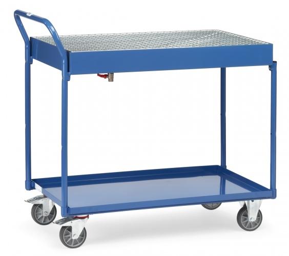 Fetra Tischwagen mit Blechwannen und Gitterrost 2 Etagen