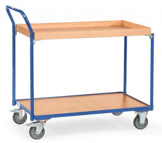 Fetra Tischwagen mit Holzwerkstoffplatten 2 Etagen mit Kasten mit 45 mm hohem Rand