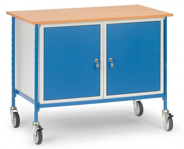 Fetra Rolltisch mit Boden aus Holz und Stahlschrank