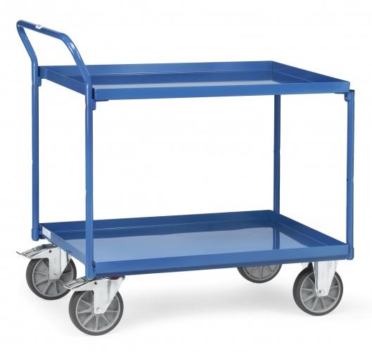 Fetra Tischwagen mit Stahlblechwannen 2 Etagen mit hohem Schiebebügel