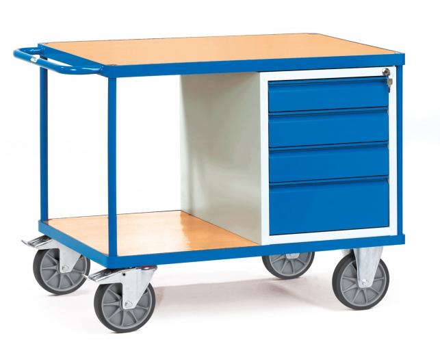 Fetra schwerer Werkstattwagen mit Holzwerkstoffplatte und 4 Schubladen