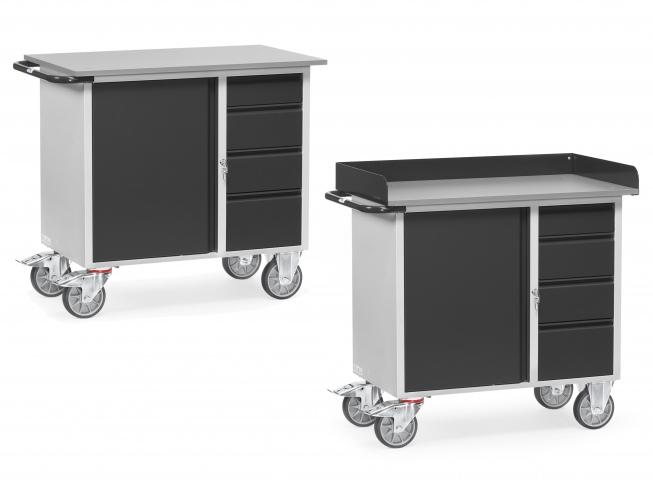 Fetra Werkstattwagen mit 4 Schubladen Stahl Grey Edition