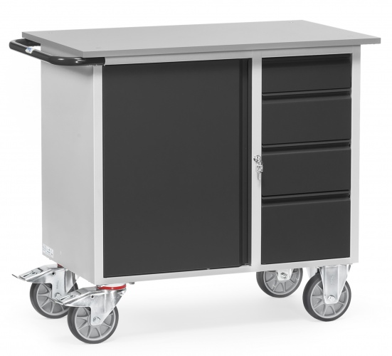 Fetra Werkstattwagen mit Schrank und 4 Schubladen ohne Abrollrand Grey Edition